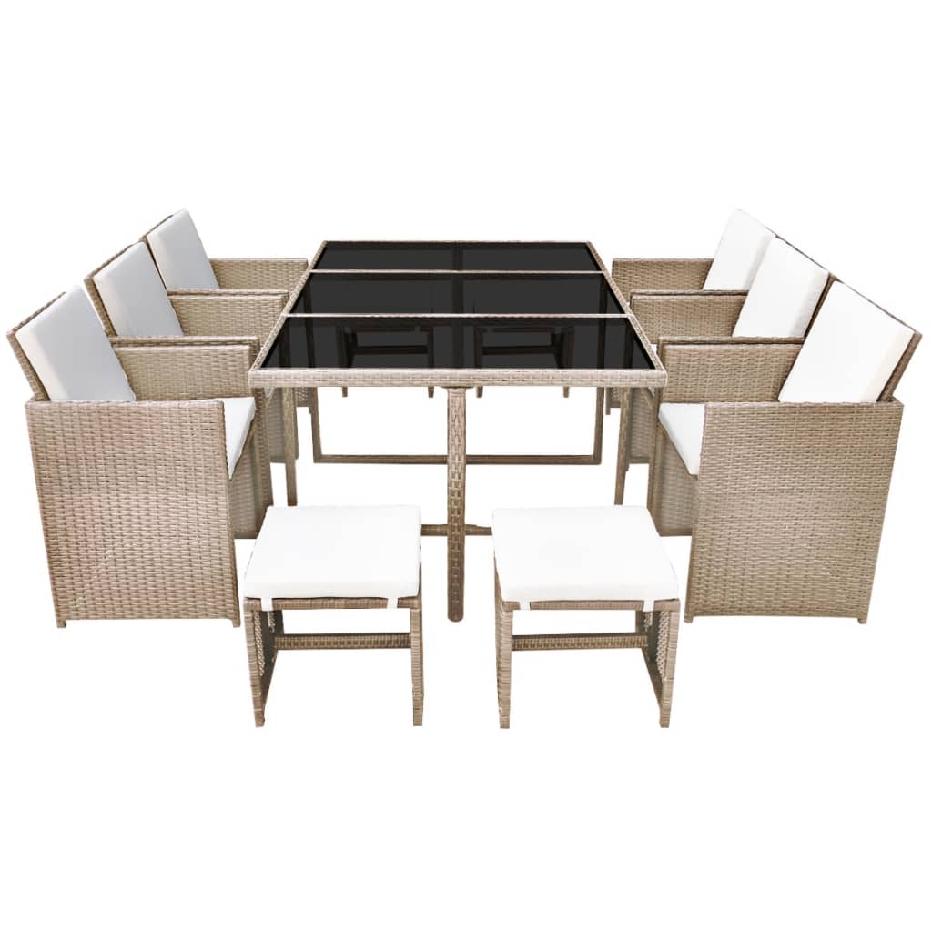 11 Piece Outdoor Dining Set with Cushions Poly Rattan Beige 3