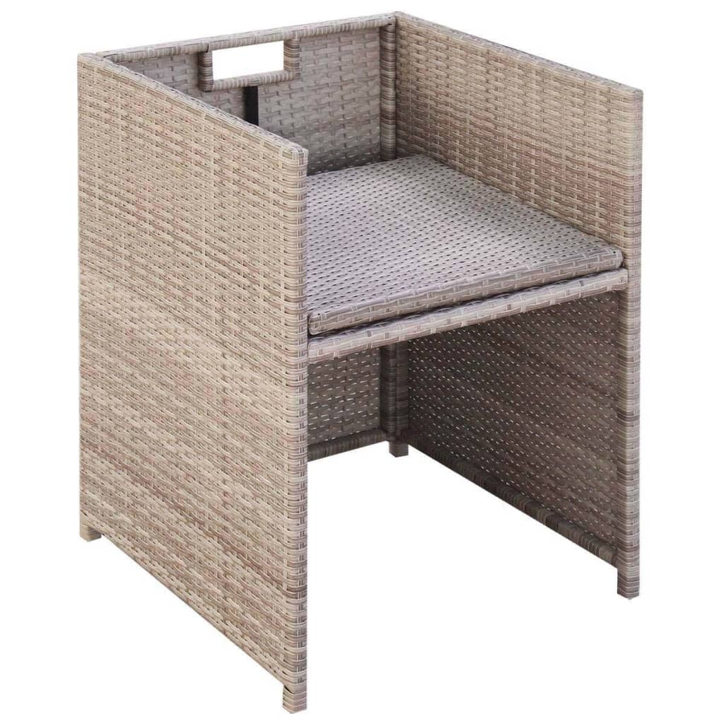 11 Piece Outdoor Dining Set with Cushions Poly Rattan Beige 7