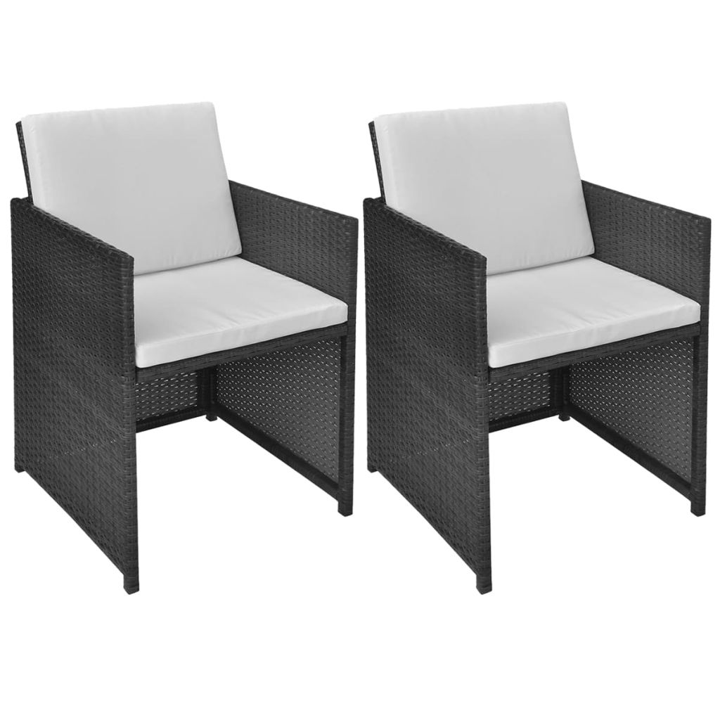 Garden Chairs 2 pcs with Cushions and Pillows Poly Rattan Black 1