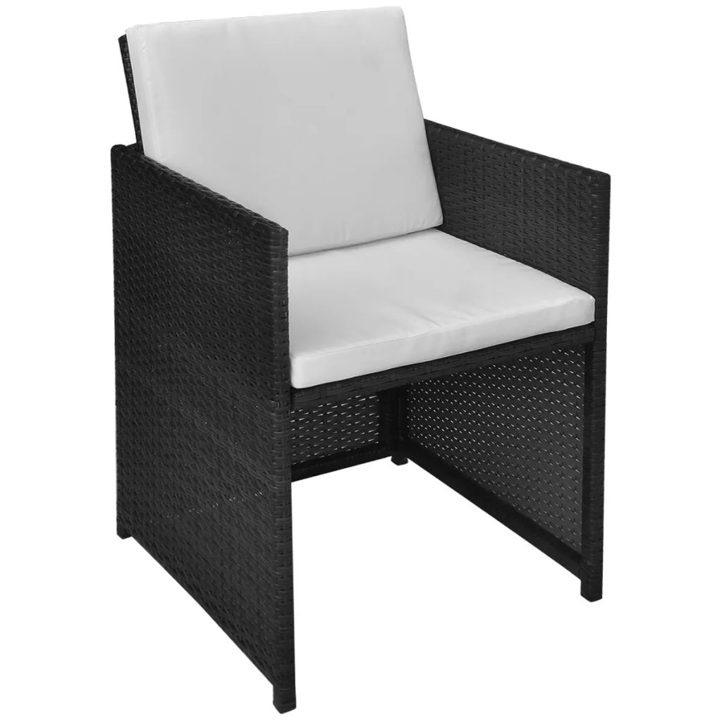Garden Chairs 2 pcs with Cushions and Pillows Poly Rattan Black 2