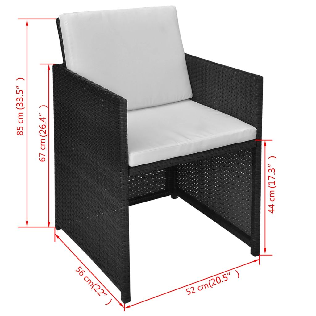 Garden Chairs 2 pcs with Cushions and Pillows Poly Rattan Black 3