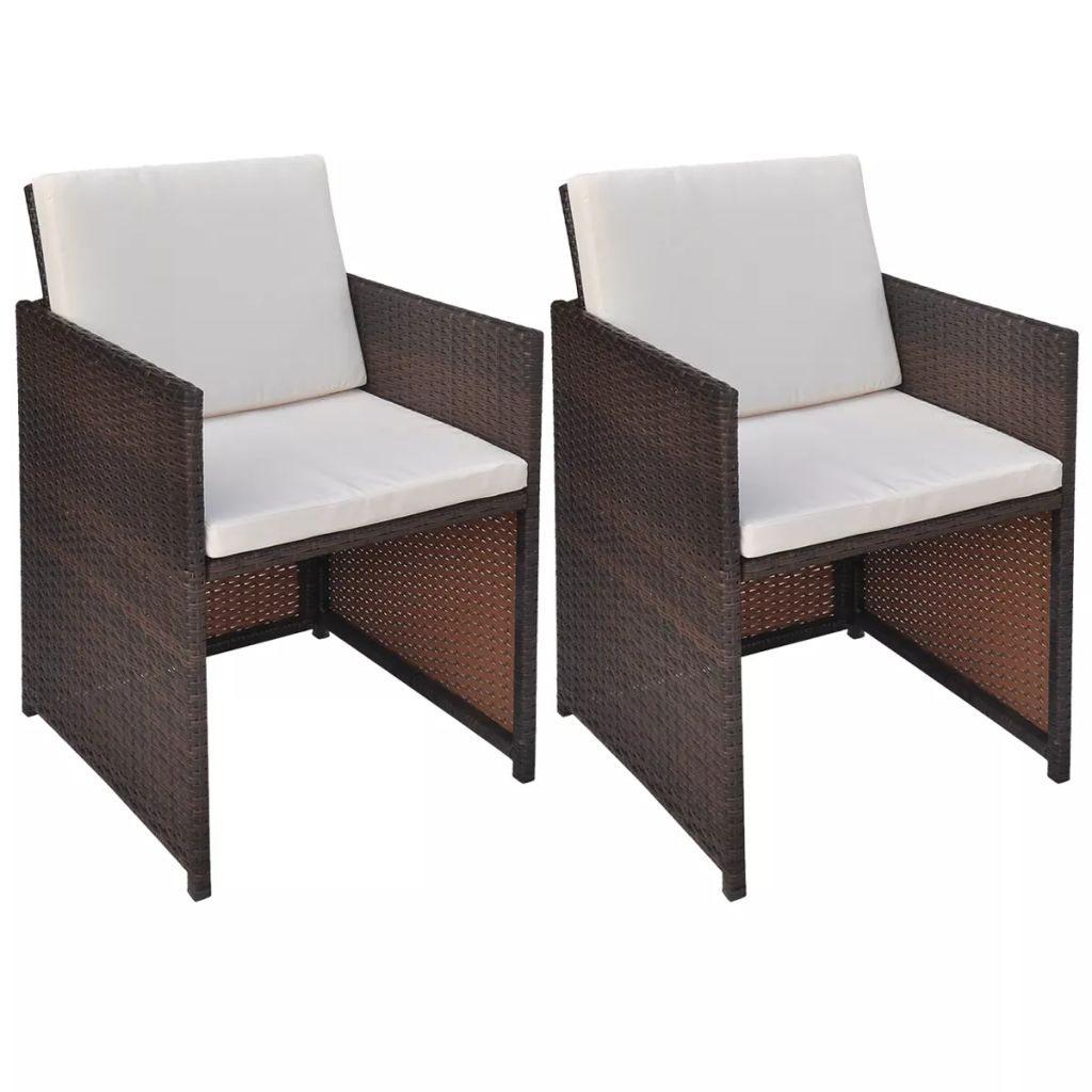 Garden Chairs 2 pcs with Cushions and Pillows Poly Rattan Brown