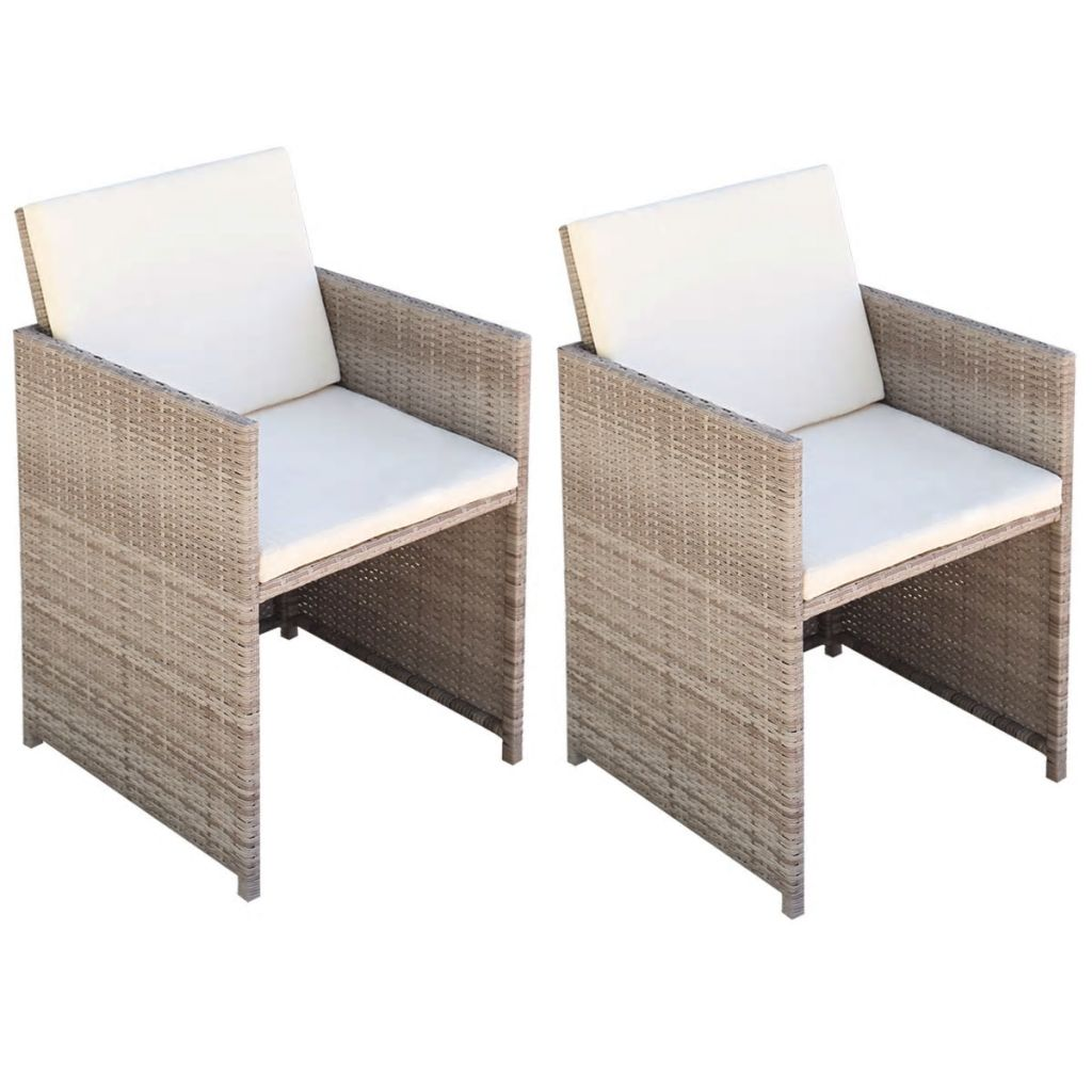 Garden Chairs 2 pcs with Cushions and Pillows Poly Rattan Beige