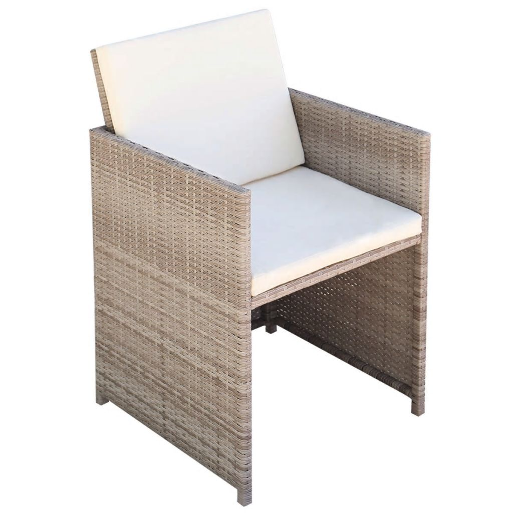 Garden Chairs 2 pcs with Cushions and Pillows Poly Rattan Beige 2