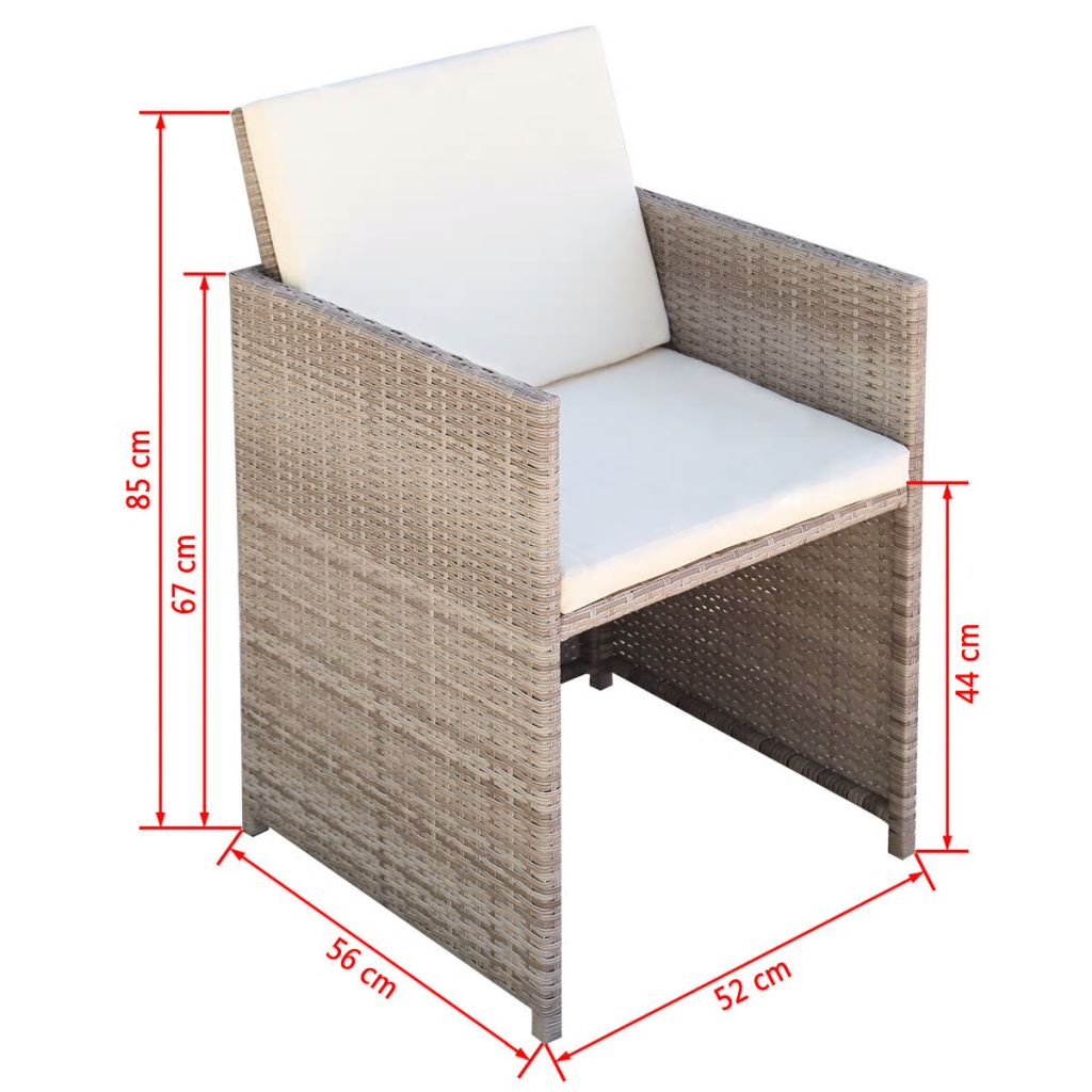 Garden Chairs 2 pcs with Cushions and Pillows Poly Rattan Beige 5
