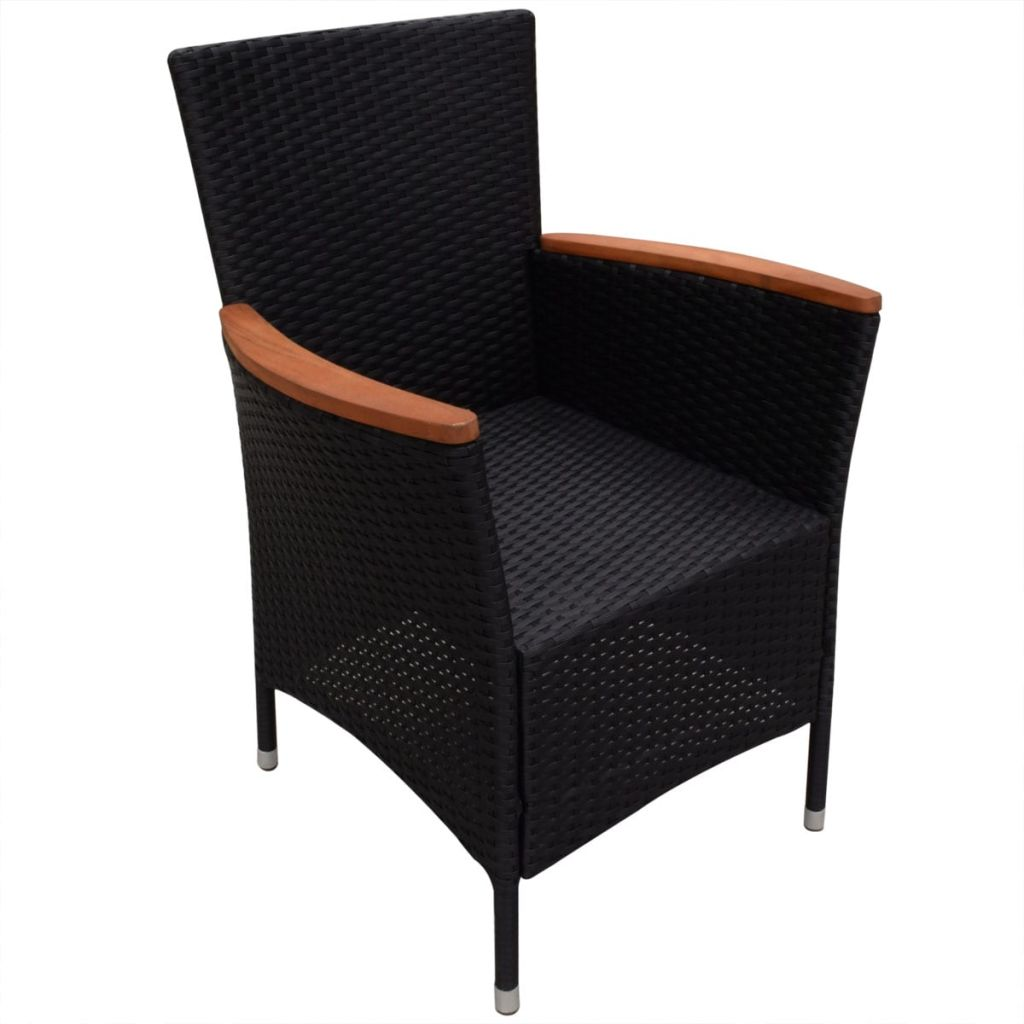 9 Piece Outdoor Dining Set with Cushions Poly Rattan Black 7