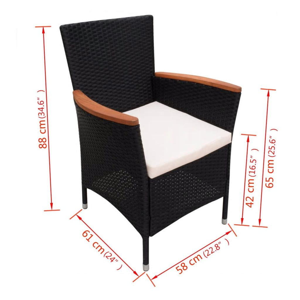 9 Piece Outdoor Dining Set with Cushions Poly Rattan Black 9