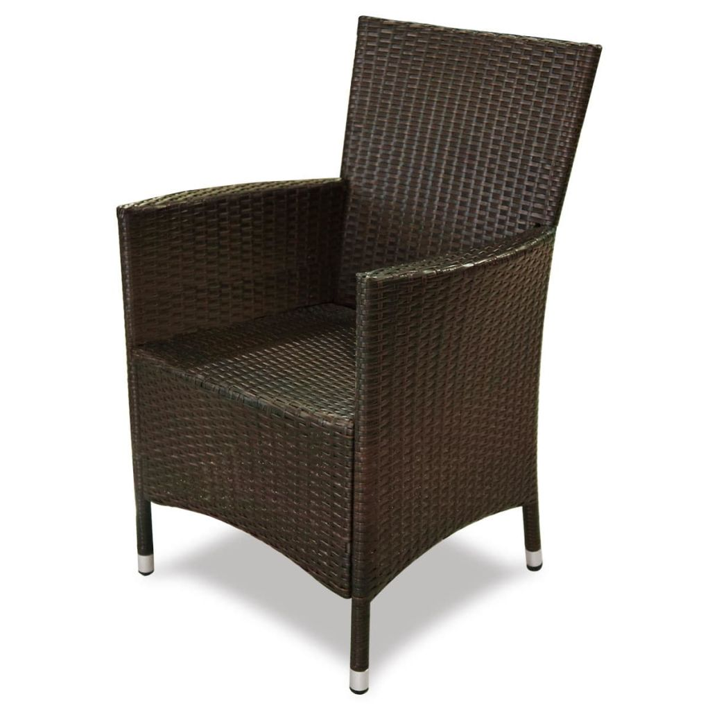 5 Piece Outdoor Dining Set with Cushions Poly Rattan Brown 5