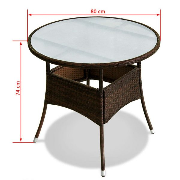 5 Piece Outdoor Dining Set with Cushions Poly Rattan Brown 6