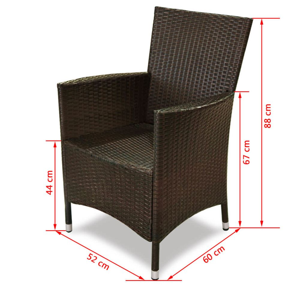 5 Piece Outdoor Dining Set with Cushions Poly Rattan Brown 7