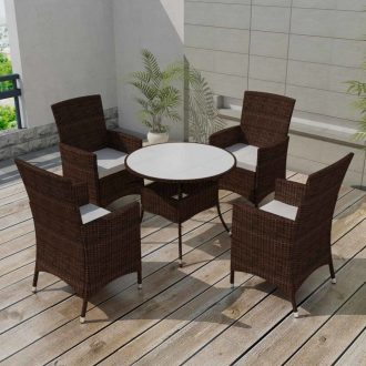 5 Piece Outdoor Dining Set with Cushions Poly Rattan Brown 1