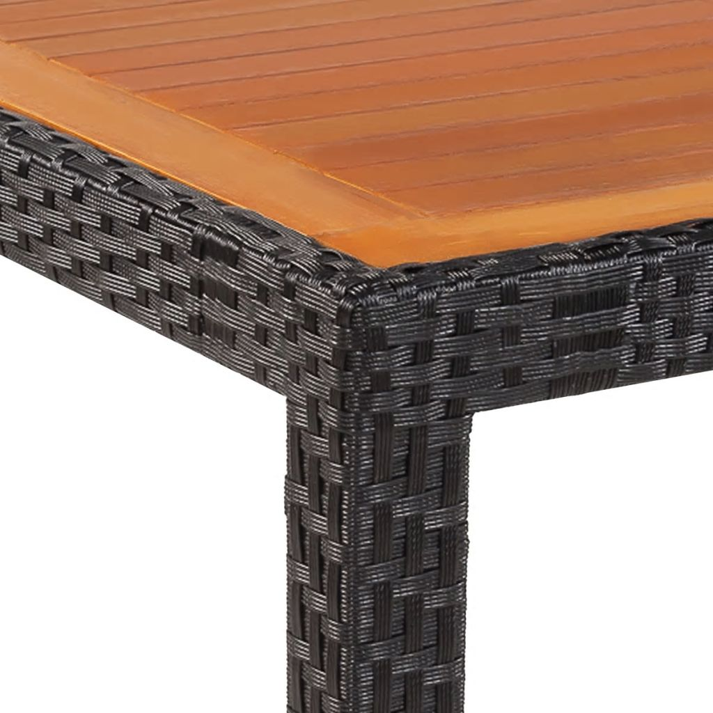 Garden Table 150x90x75 cm Poly Rattan and Solid Acacia Wood 3