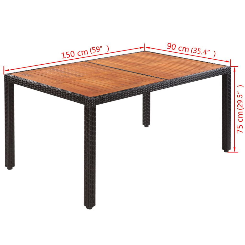 Garden Table 150x90x75 cm Poly Rattan and Solid Acacia Wood 4
