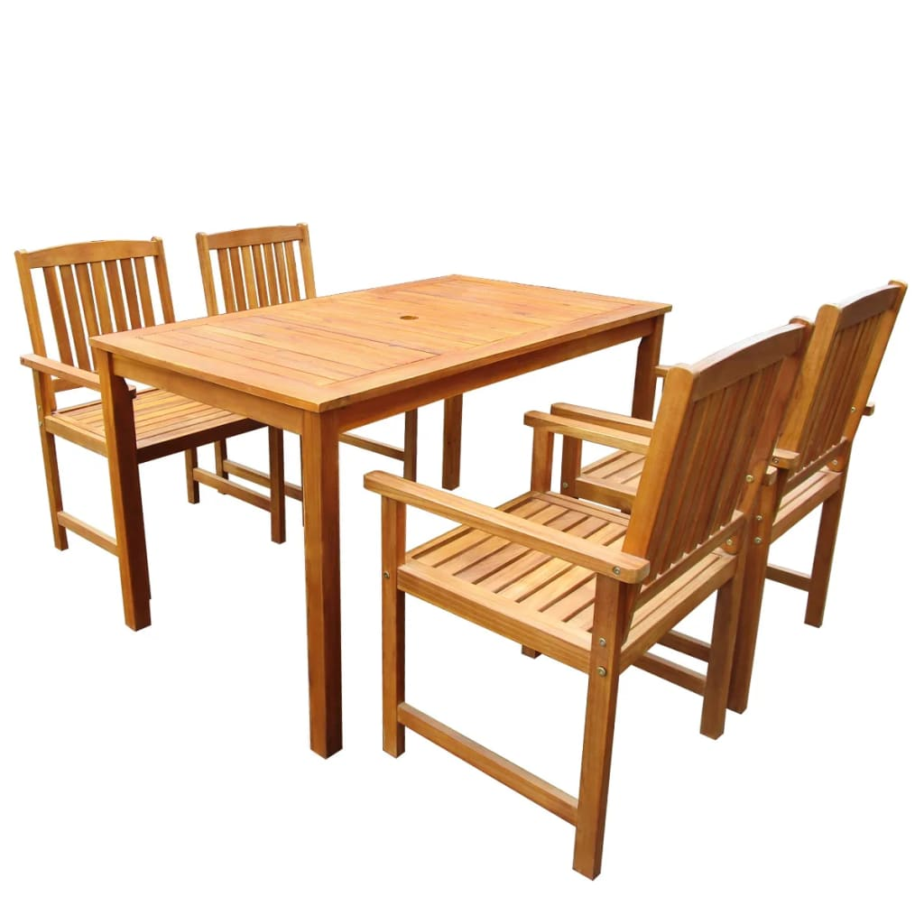 5 Piece Outdoor Dining Set Solid Acacia Wood 1
