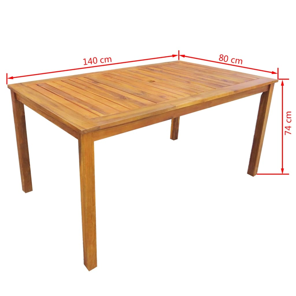 5 Piece Outdoor Dining Set Solid Acacia Wood 7