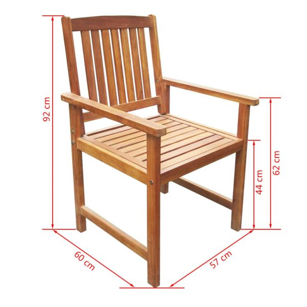 5 Piece Outdoor Dining Set Solid Acacia Wood 8