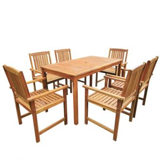 7 Piece Outdoor Dining Set Solid Acacia Wood 1
