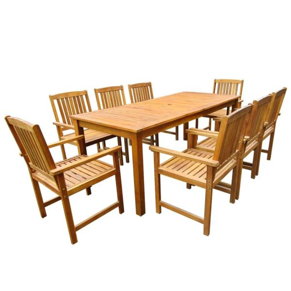 9 Piece Outdoor Dining Set Solid Acacia Wood 1
