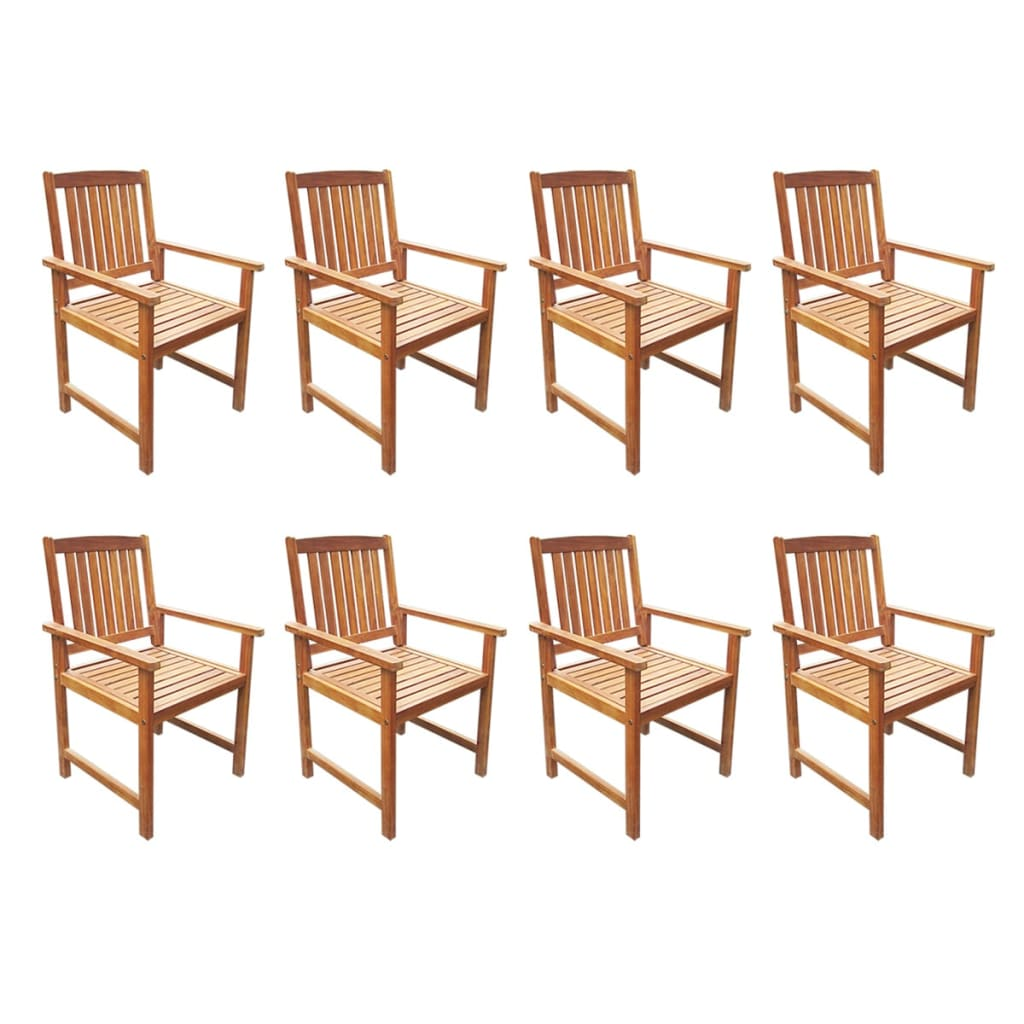 9 Piece Outdoor Dining Set Solid Acacia Wood 4