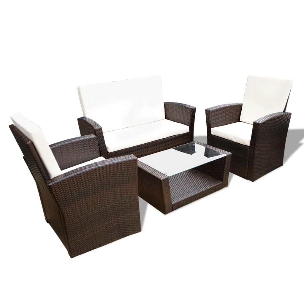 4 Piece Garden lounge set with Cushions Poly Rattan Brown 3