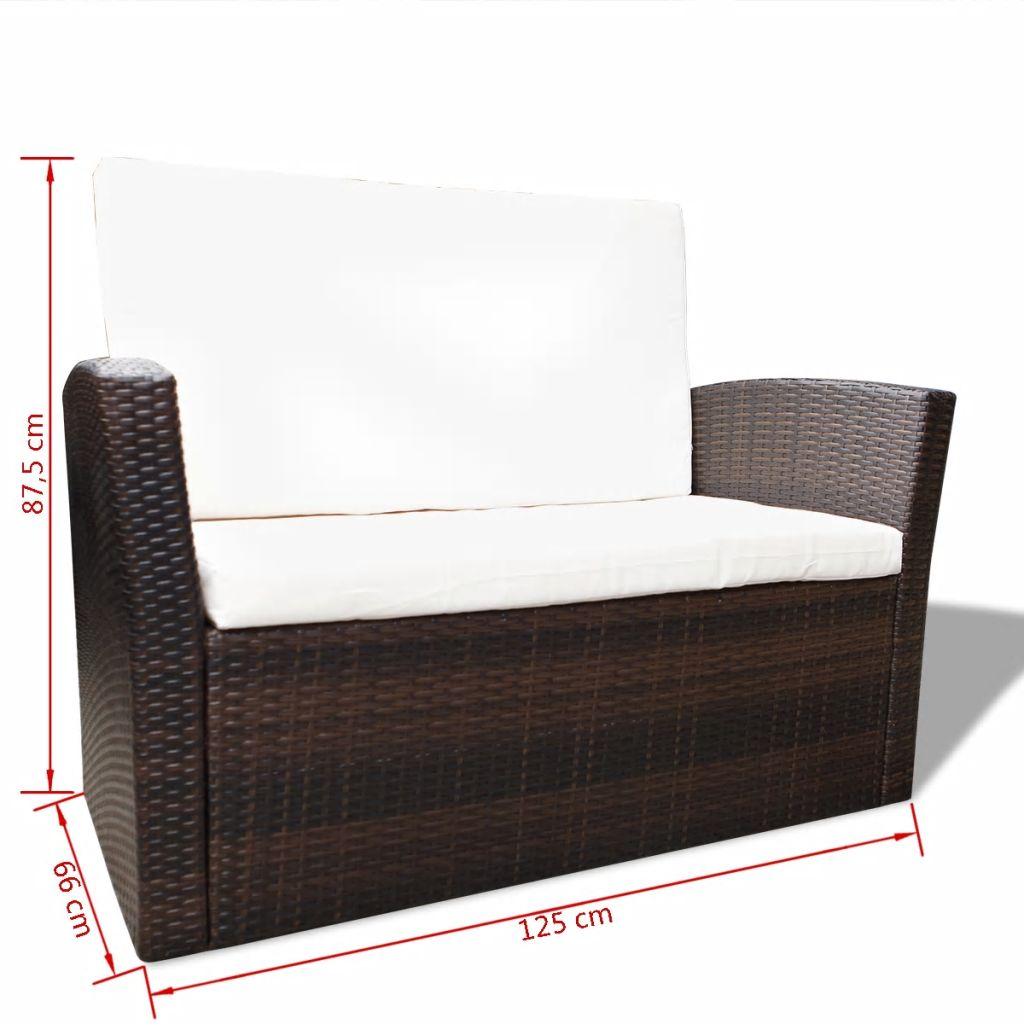 4 Piece Garden lounge set with Cushions Poly Rattan Brown 7