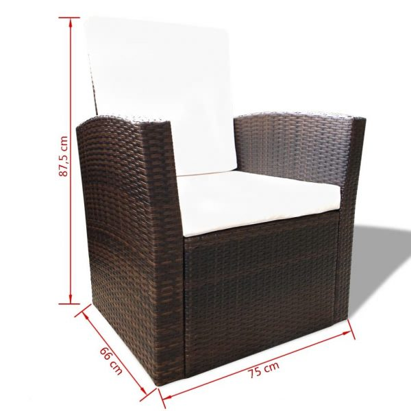 4 Piece Garden lounge set with Cushions Poly Rattan Brown 8