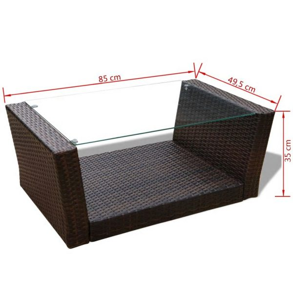 4 Piece Garden lounge set with Cushions Poly Rattan Brown 9