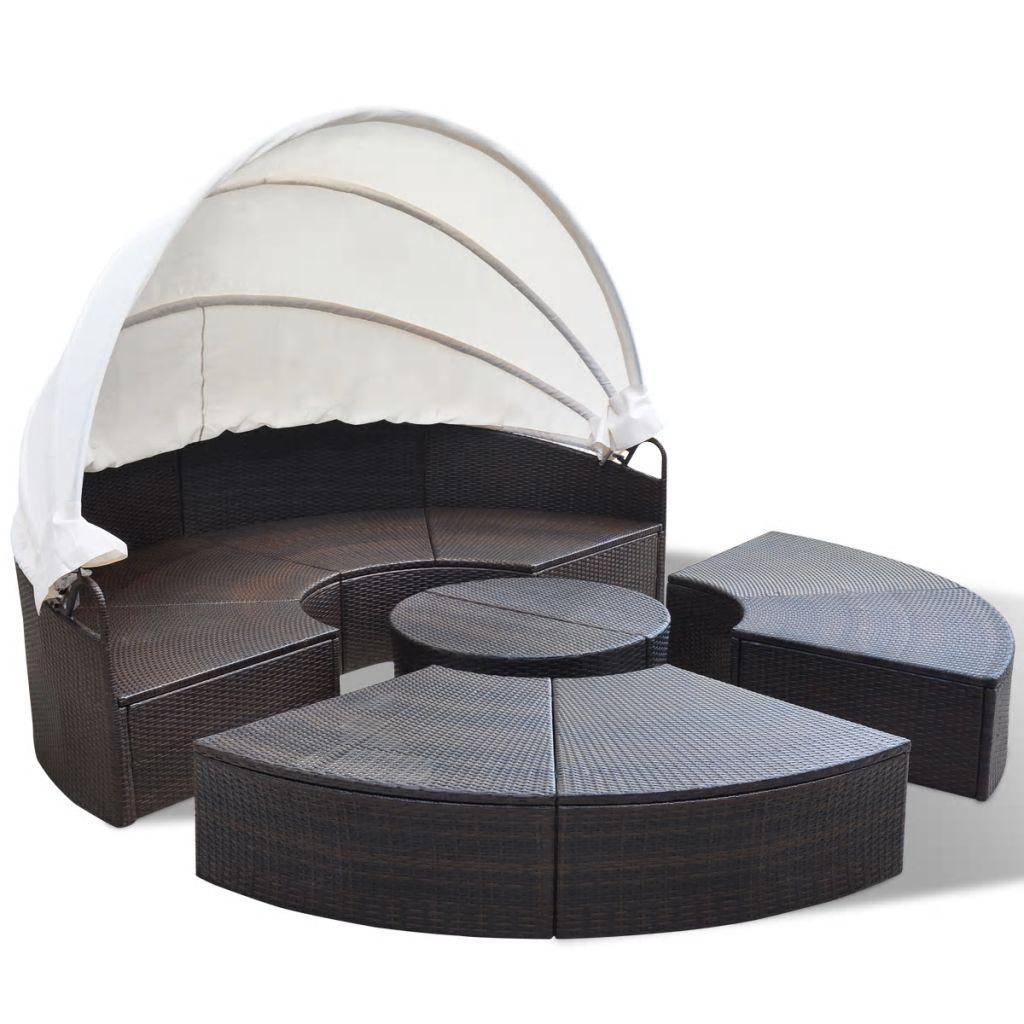 Outdoor Lounge Bed Poly Rattan Brown 4