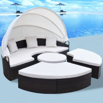 Outdoor Lounge Bed Poly Rattan Brown 1