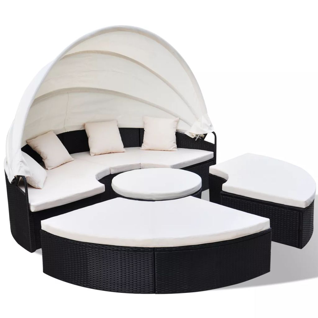Outdoor Lounge Bed Poly Rattan Black 2
