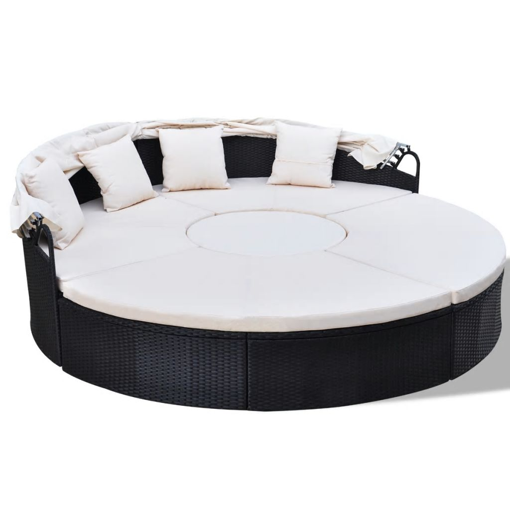 Outdoor Lounge Bed Poly Rattan Black 3