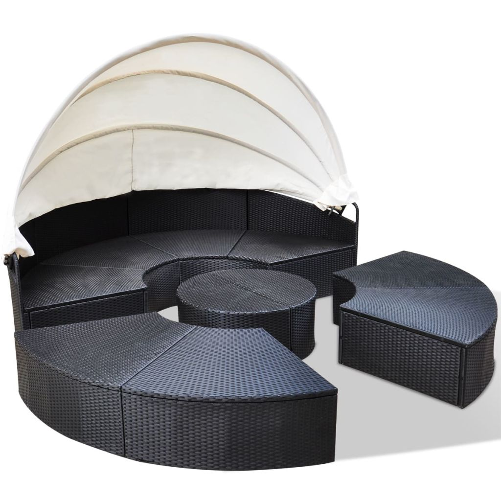 Outdoor Lounge Bed Poly Rattan Black 4