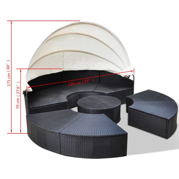 Outdoor Lounge Bed Poly Rattan Black 6