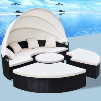 Outdoor Lounge Bed Poly Rattan Black 1