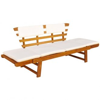 Garden Bench with Cushions 2-in-1 190 cm Solid Acacia Wood 1