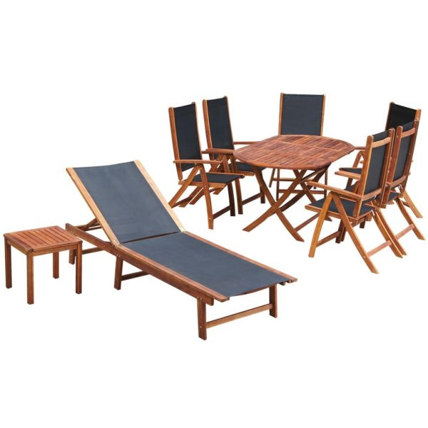 9 Piece Outdoor Dining Set with Cushions Solid Acacia Wood 1