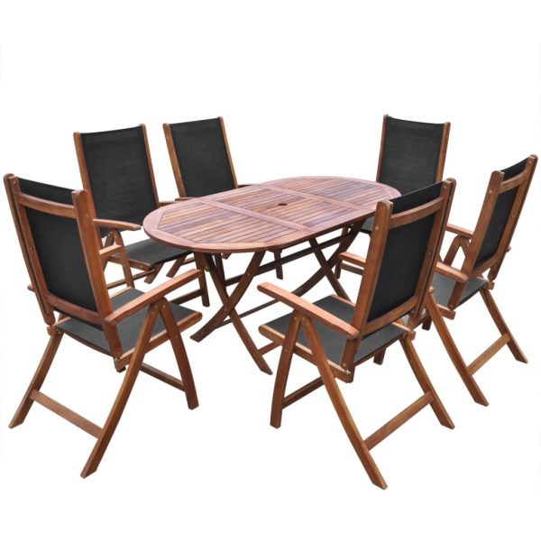 9 Piece Outdoor Dining Set with Cushions Solid Acacia Wood 2