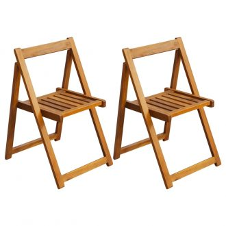 Folding Garden Chairs 2 pcs Solid Acacia Wood 1