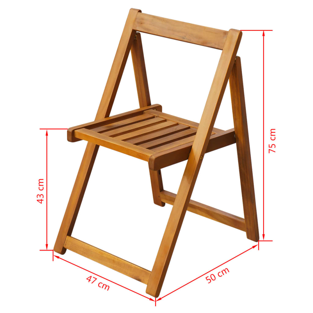 Folding Garden Chairs 2 pcs Solid Acacia Wood 5