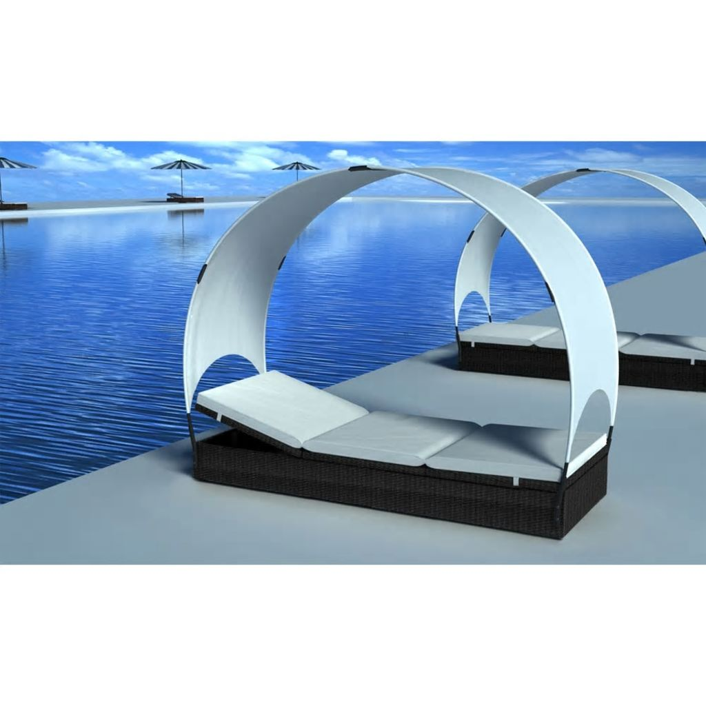 Sun Lounger with Canopy Poly Rattan Black 1