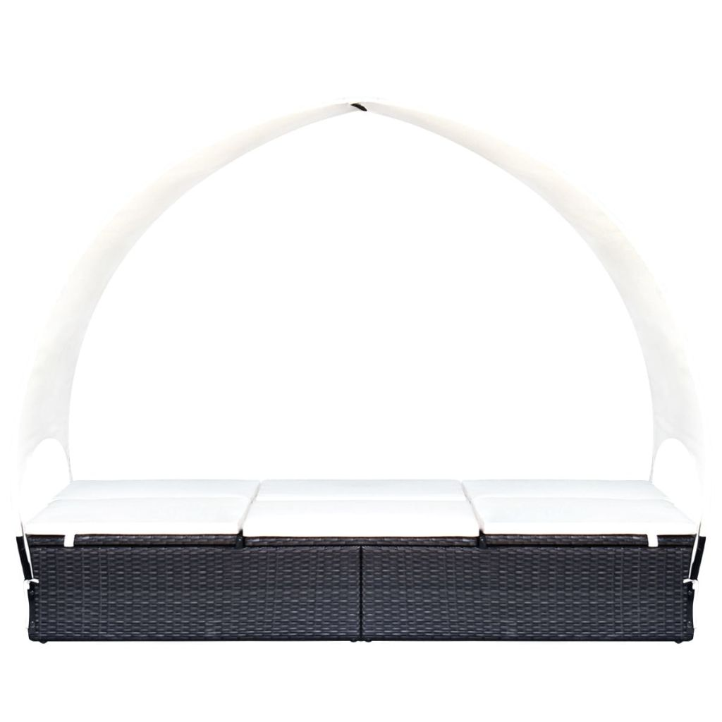 Double Sun Lounger with Canopy Poly Rattan Black 3