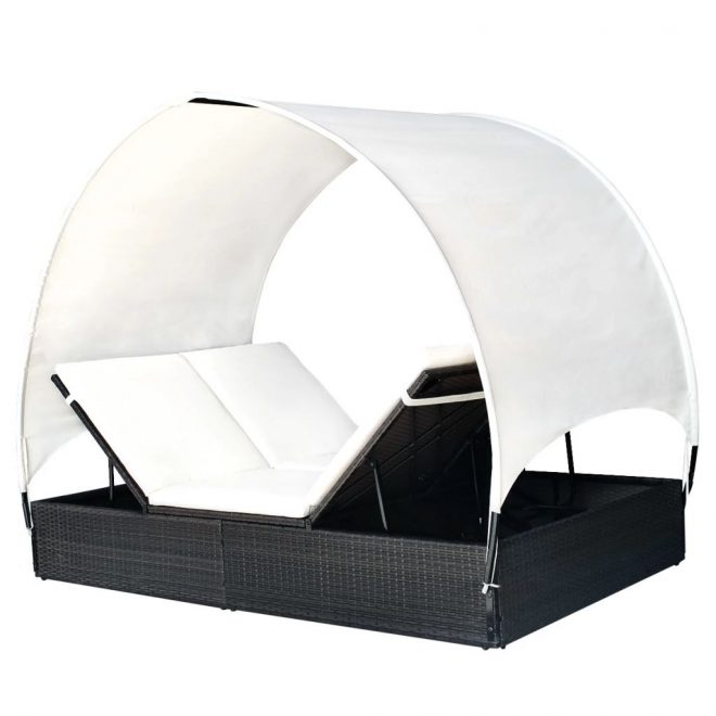 Double Sun Lounger with Canopy Poly Rattan Black 5