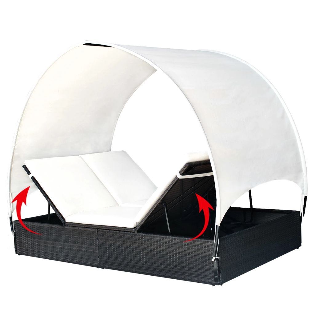 Double Sun Lounger with Canopy Poly Rattan Black 7