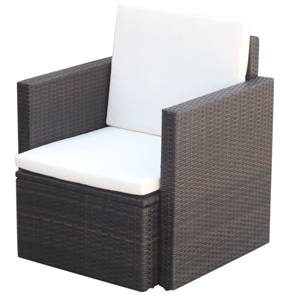 Garden Chair with Cushions and Pillows Poly Rattan Brown 1