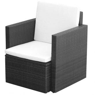 Garden Chair with Cushions and Pillows Poly Rattan Black 1