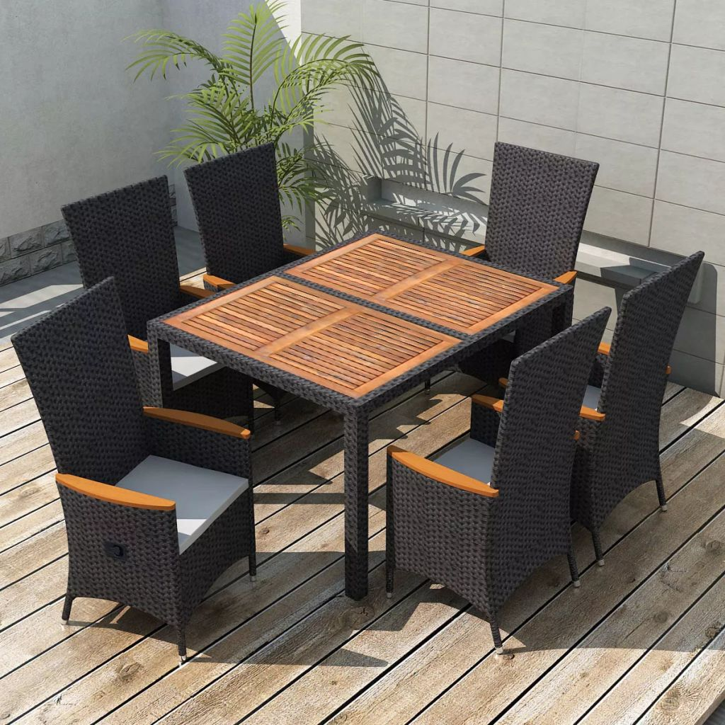 7 Piece Outdoor Dining Set Poly Rattan Acacia Wood Black