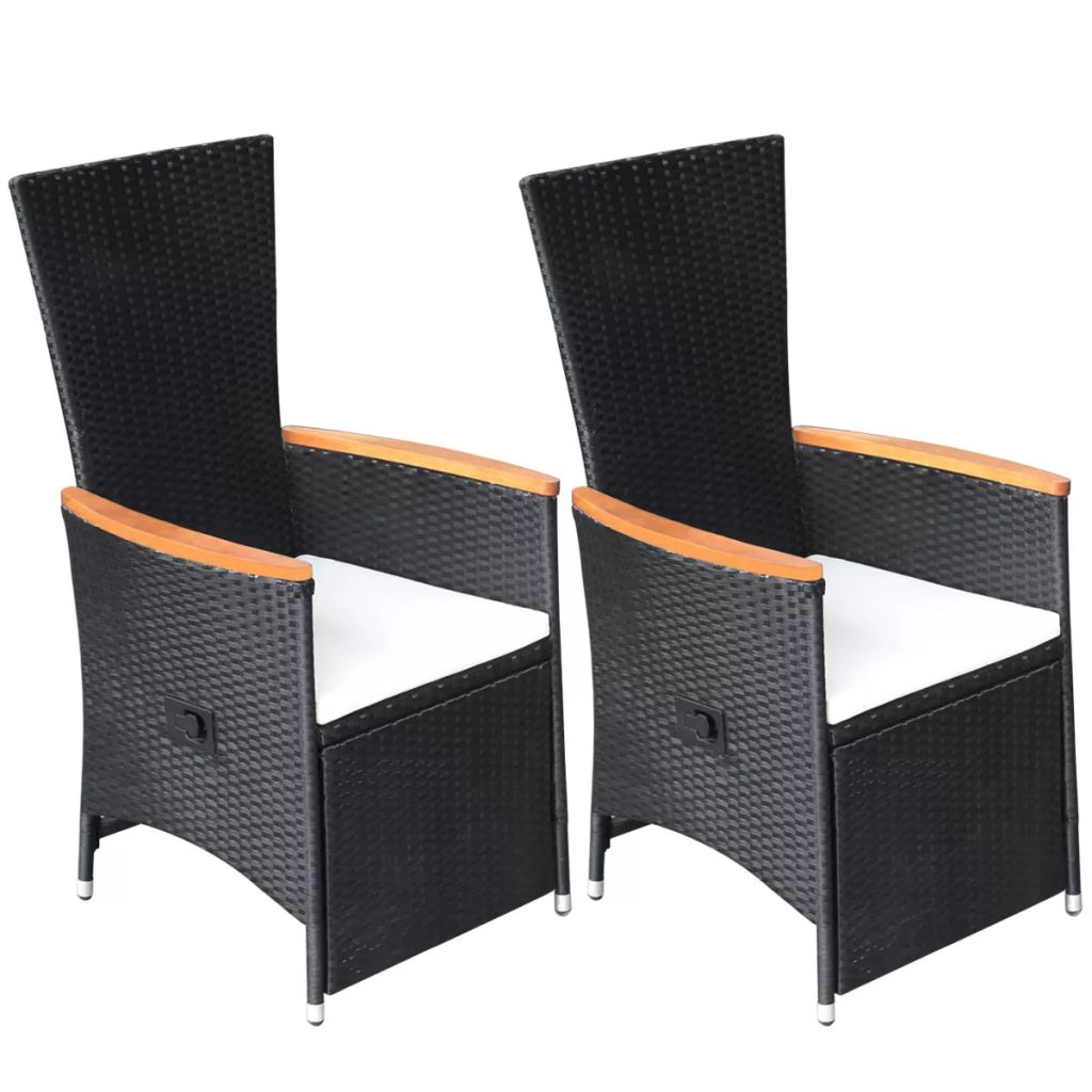 Reclining Garden Chairs 2 pcs with Cushions Poly Rattan Black 2