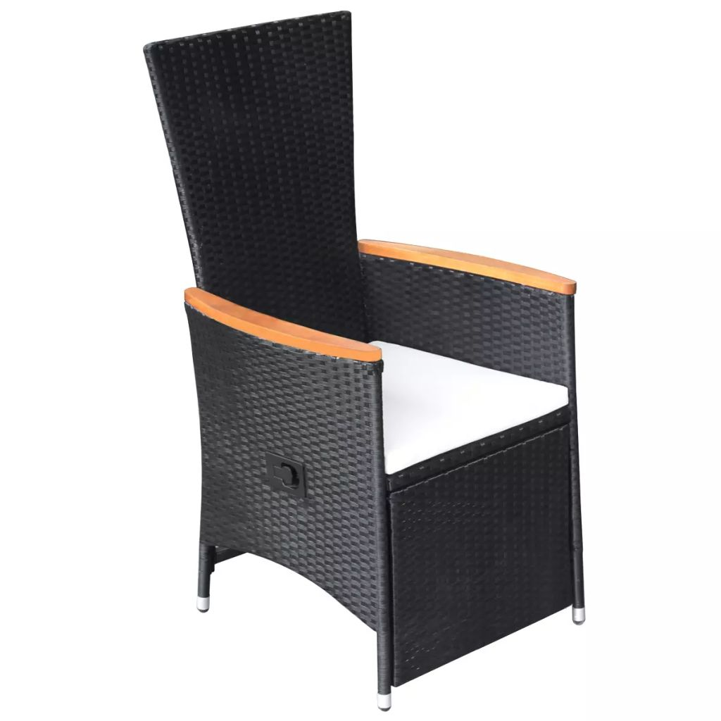 Reclining Garden Chairs 2 pcs with Cushions Poly Rattan Black 3