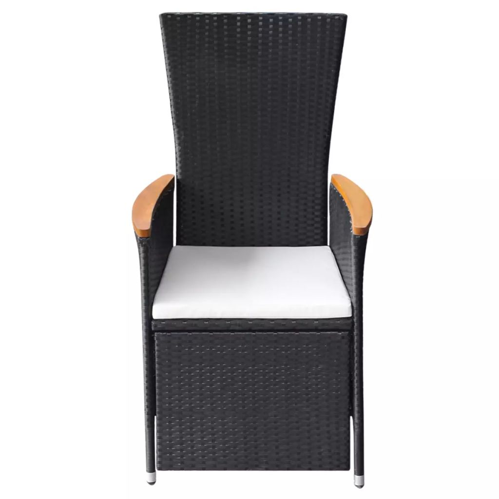 Reclining Garden Chairs 2 pcs with Cushions Poly Rattan Black 4