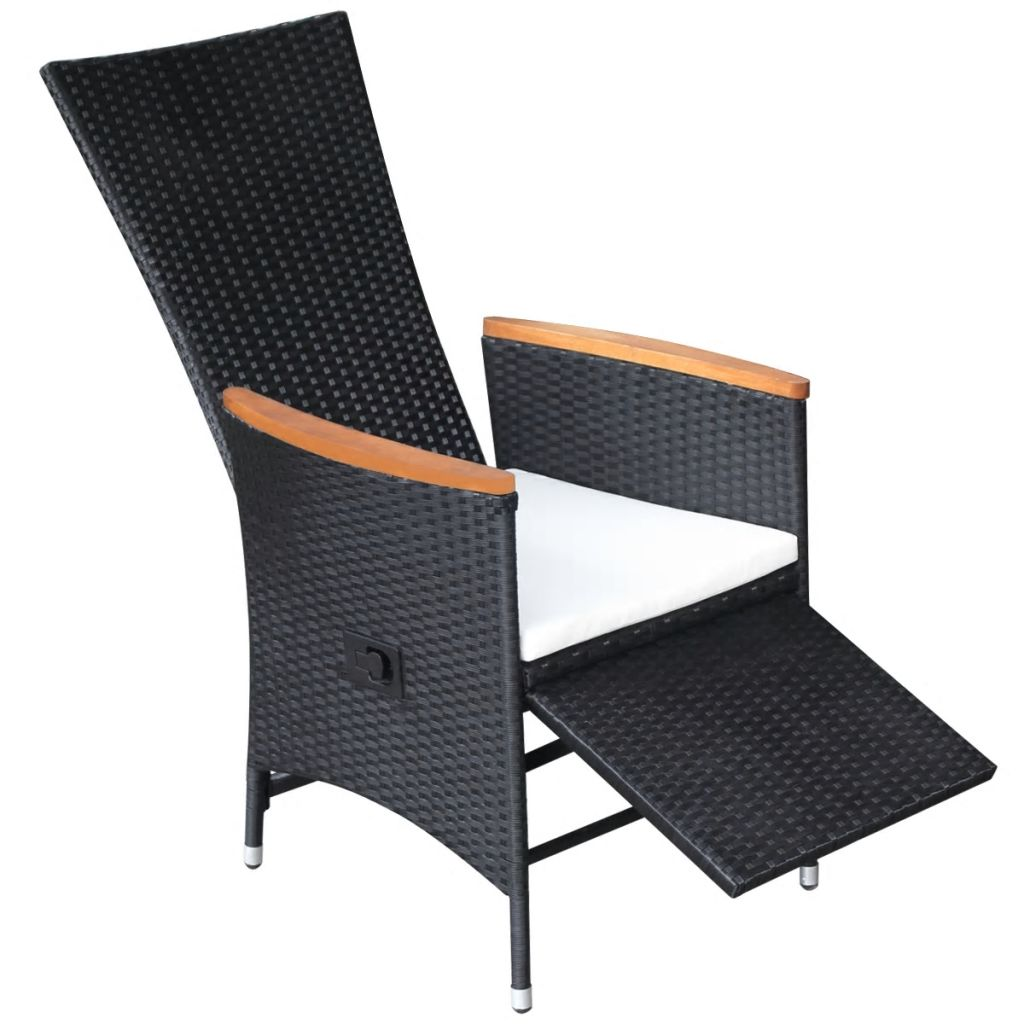 Reclining Garden Chairs 2 pcs with Cushions Poly Rattan Black 5